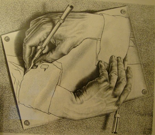 This Lithograph of Drawing Hands by MC Escher